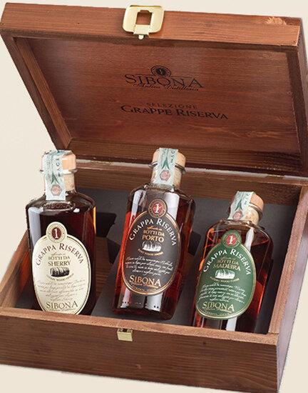 Cofanetto selezione Grappe Riserva. Botti da Porto, Sherry e Madeira