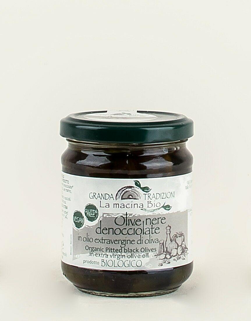 Olive Nere Denocciolate in Olio Extravergine di Oliva Bio