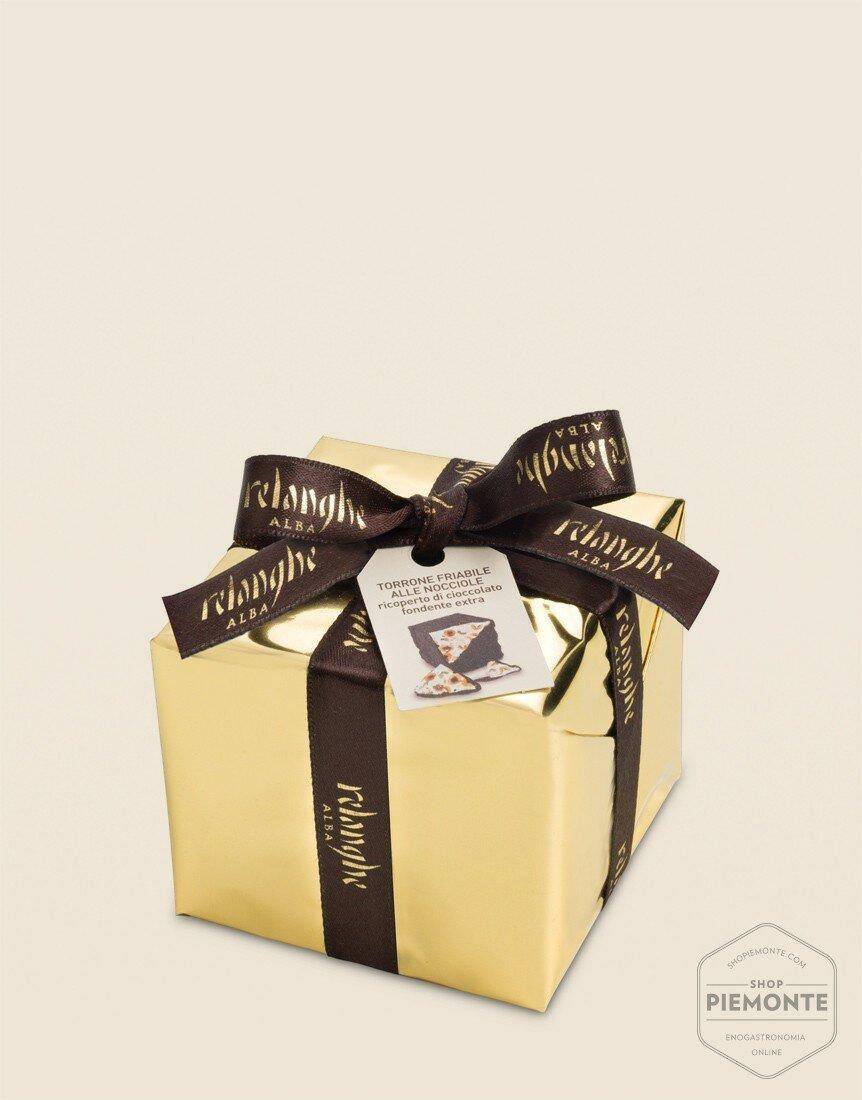 Blocchetto Torrone Friabile Ricoperto di Cioccolato Fondente Extra 200 gr