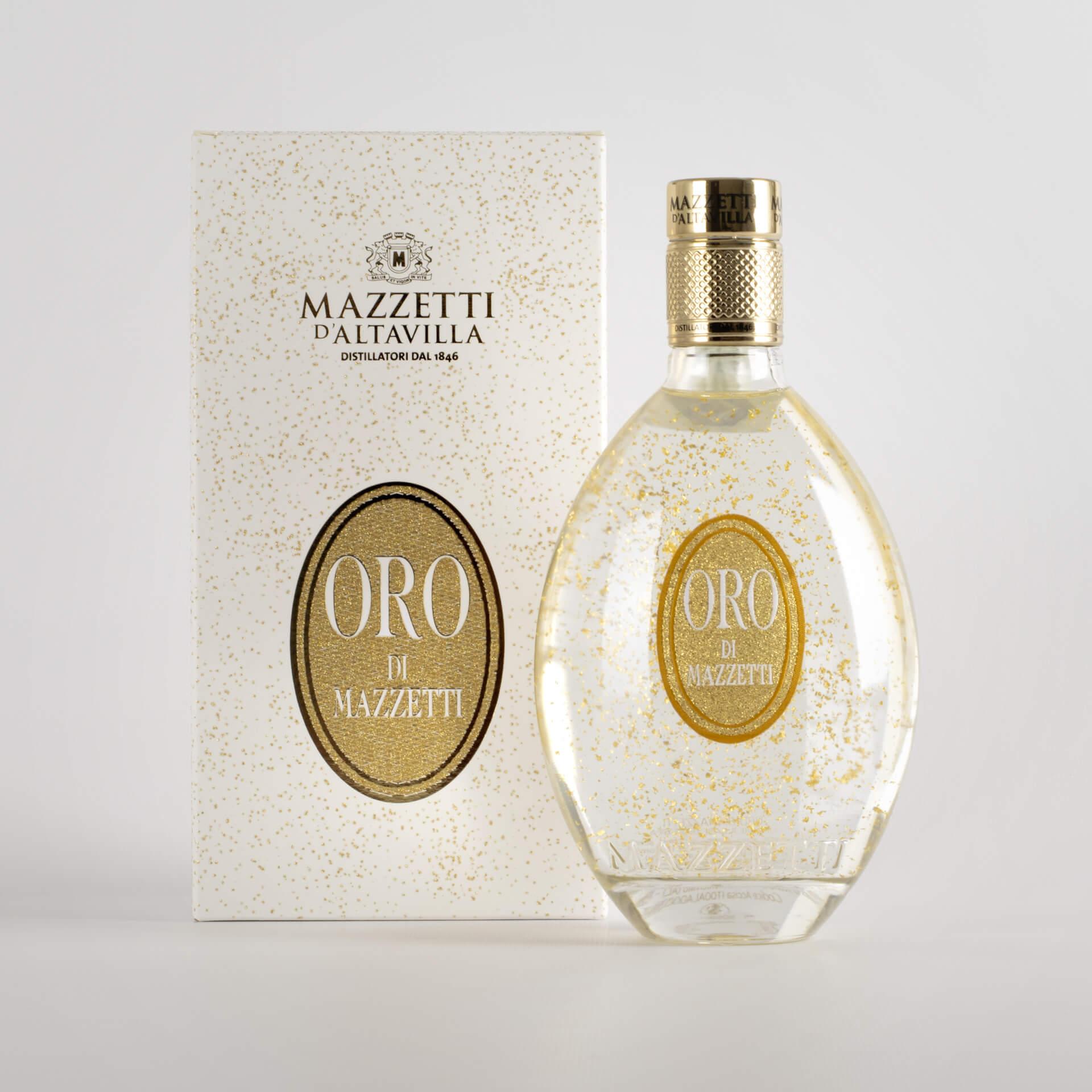 Gold Mazzetti based liqueur Grappa Mazzetti - with case