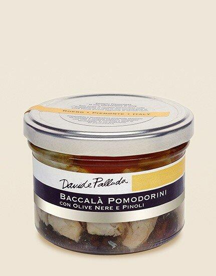 Baccalà pomodorini con olive nere e pinoli 210g