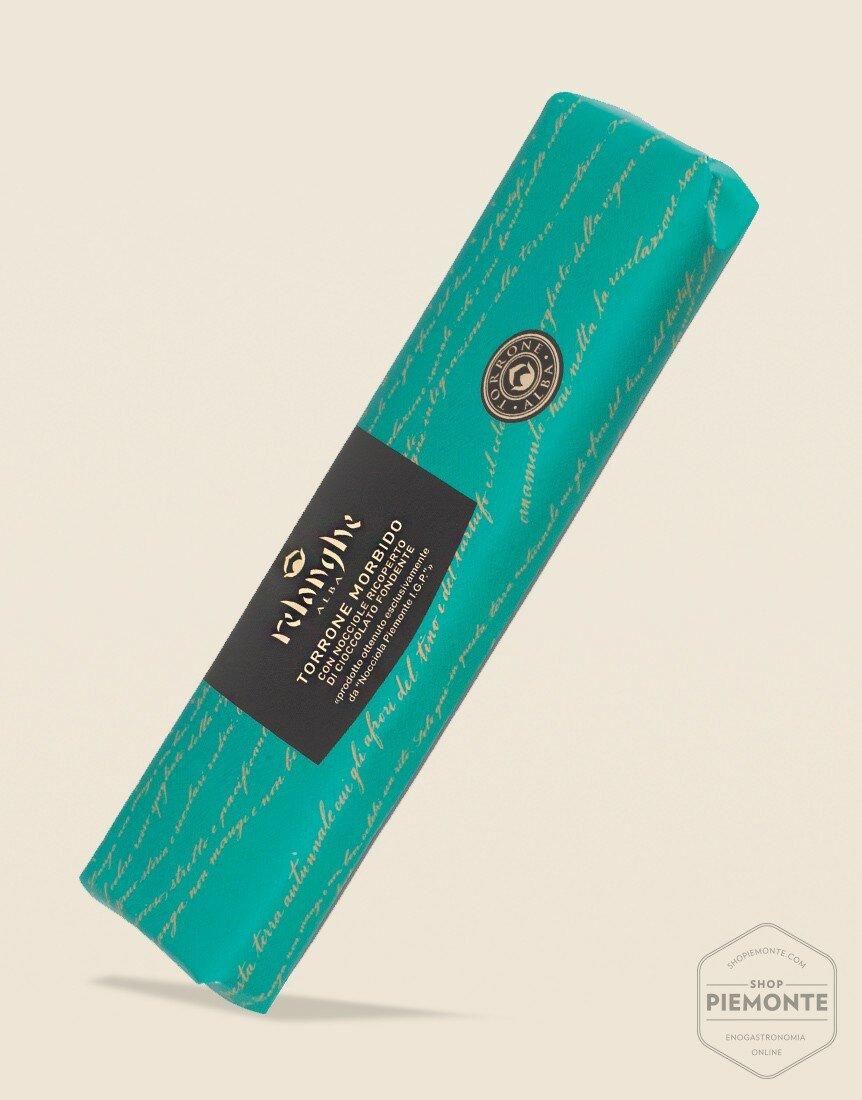 Torrone Morbido con Nocciole Piemonte I.G.P ricoperto di Cioccolato Incarto Turchese