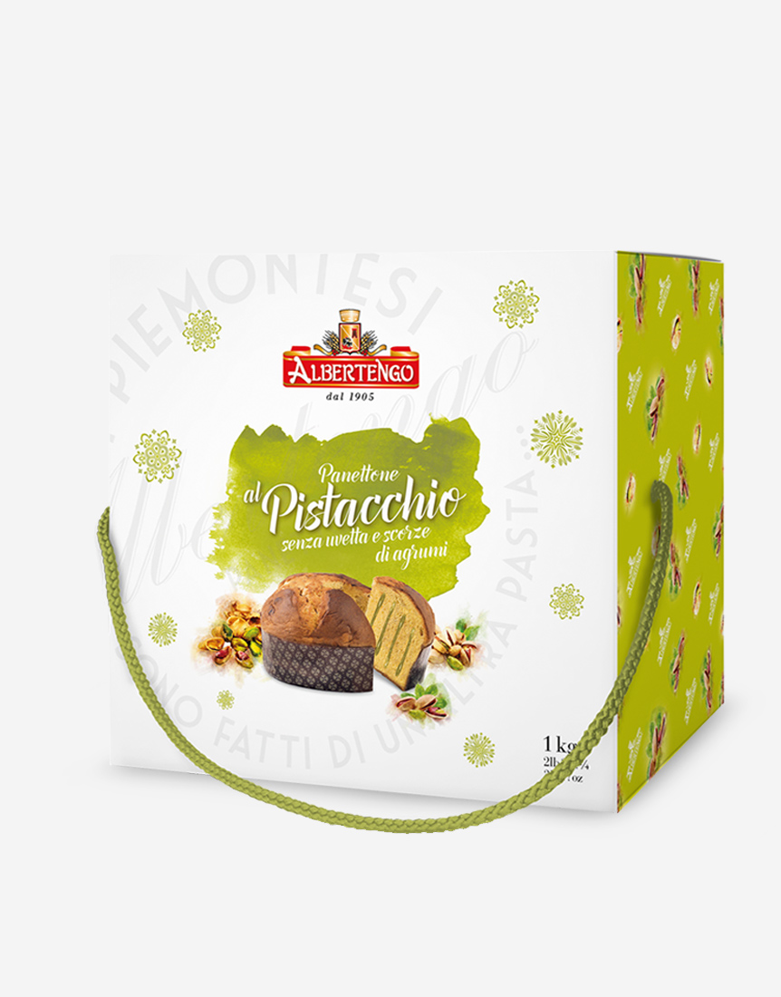 Pistachio panettone without candied fruit and raisins