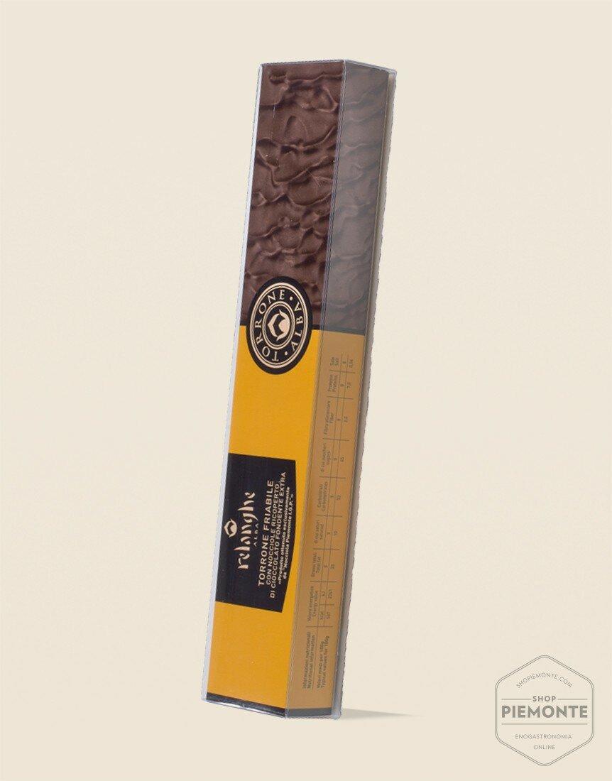 Torrone Friabile con Nocciole Piemonte I.G.P. ricoperto di Cioccolato Fondente 150 g